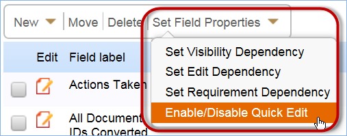 The Set Field Properties option