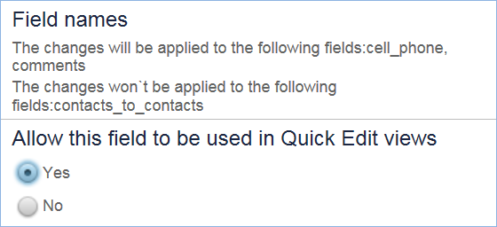 Field property confirmation dialog