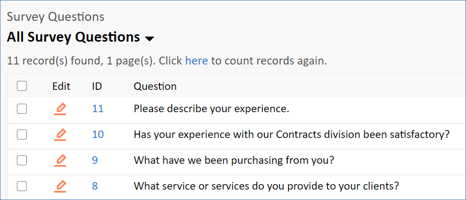 Example records in a Survey Questions table