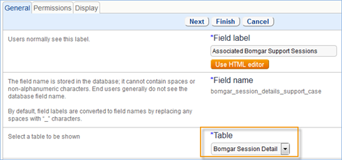 Select bomgar Session detail from the drop-down