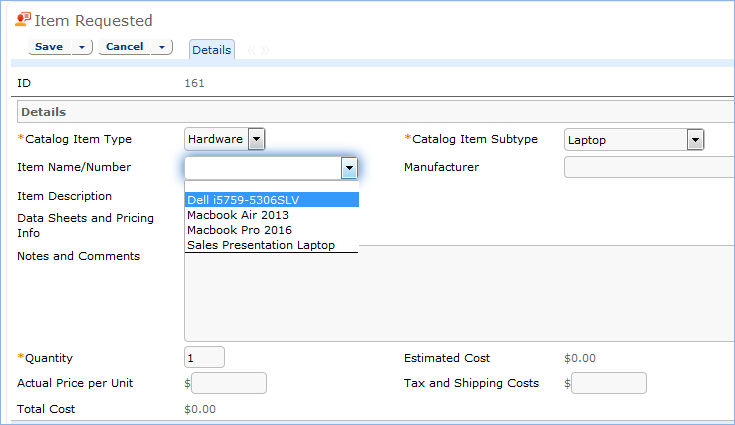 Item Requested form. This form opens when the user selects 'Select Items' from the Service Request record.