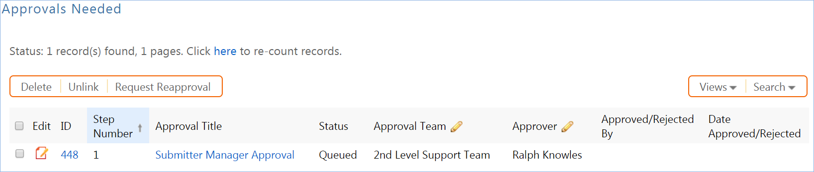 Shows the Approvals Needed related table with one workflow-generated approval record.