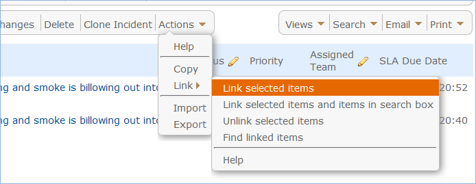 The Actions menu opens a sub-menu with Link options including Link to Selected Items.
