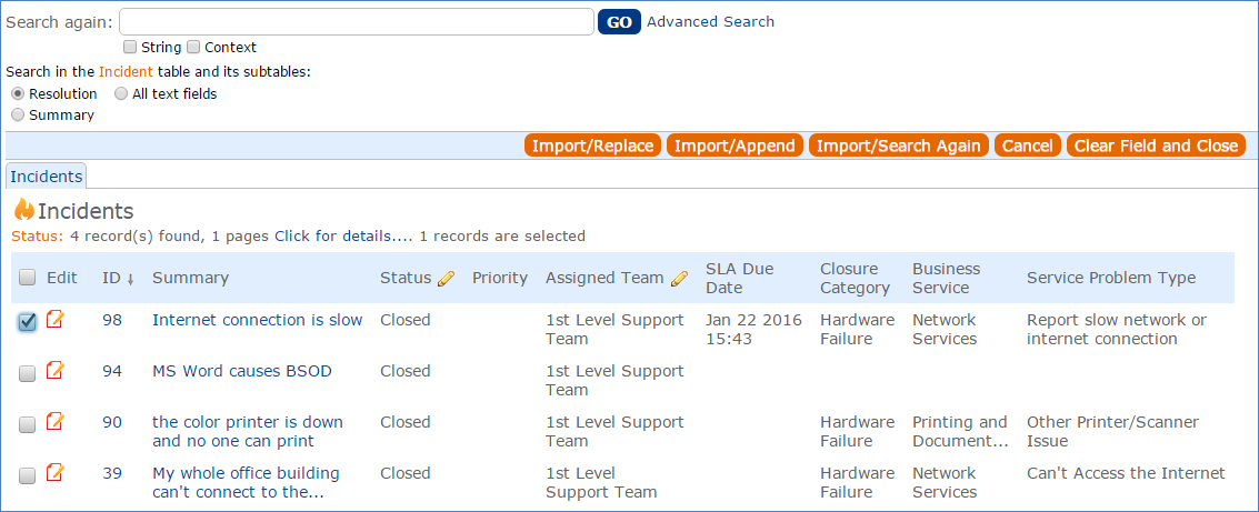 A pop-open search window showing incidents containing standard solutions.