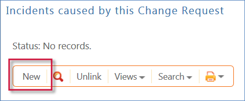 Shows the button to create new Incidents from within a Change Request record.