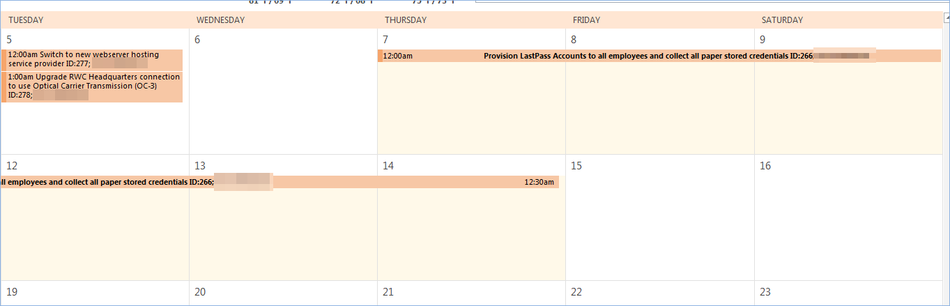Calendar image showing appointments created by scheduling change requests in the system.