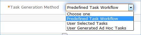 Drop-down showing Task Generation Methods such as workflow or ad hoc.