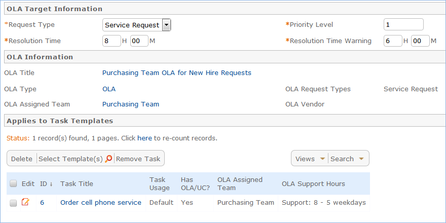 An example of an OLA Target for the Purchasing Team task for employee on-boarding requests.
