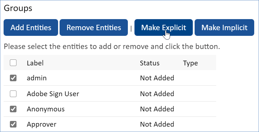 Groups list showing the Make Explicit button