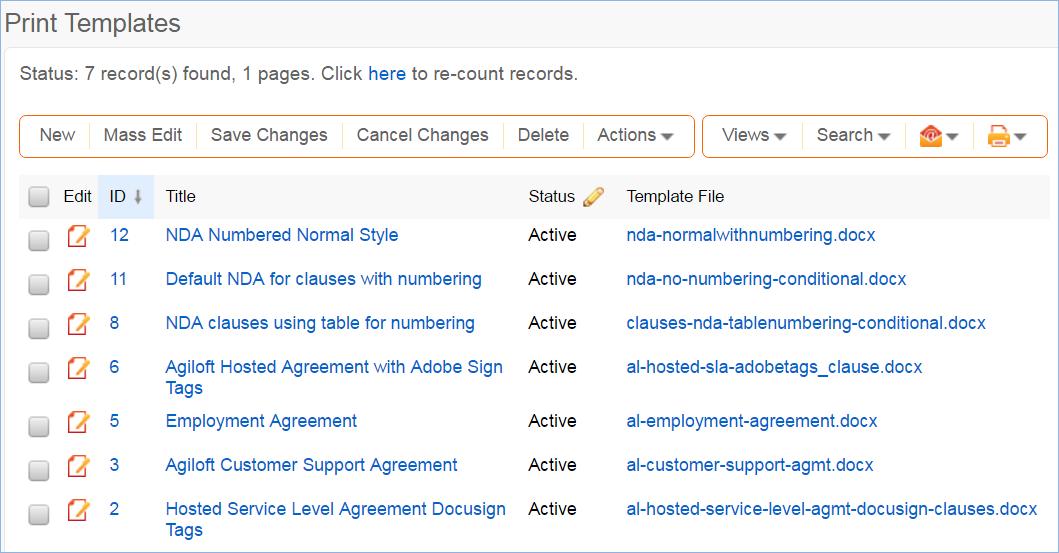 Print Templates Table Standard System Documentation Agiloft Help