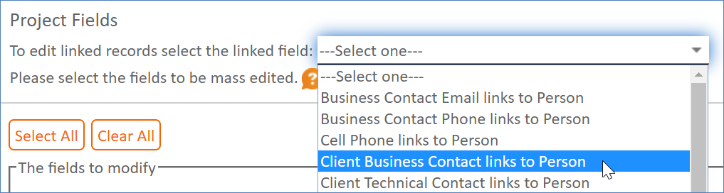 Selecting a linked field