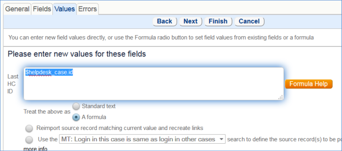 Use a formula to update the Last HC ID field with the parent helpdesk case record's ID