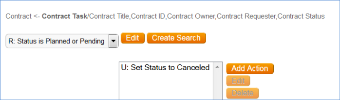 A nested update fields action changes the Status of linked contract tasks