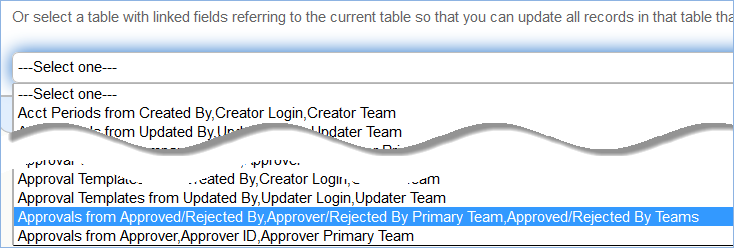 The second drop-down on the Chain tab shows linked fields referring to the current table