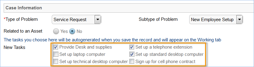 Selecting New Tasks in a helpdesk case for employee setup