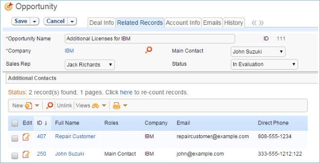 The Additional Contacts related table in an opportunity record