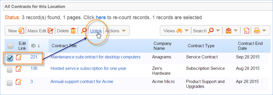 When you Unlink a record from a related table, the underying linked field in the source record is modified