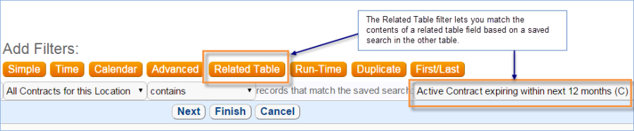 You must create a saved search in the source table before using a Related Table filter to search on related table fields