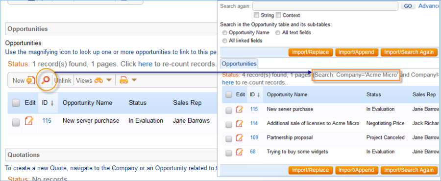 When new users are added sales staff can manually link to existing Opportunities matching the person's company