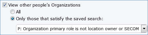 View permissions to the Organizations table is limited by a saved searched based on role