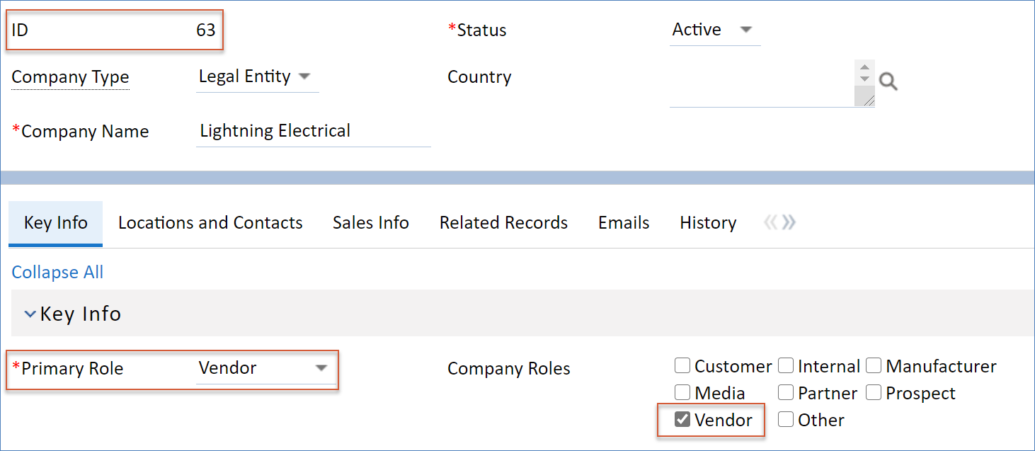 Converted Company record with converted values highlighted