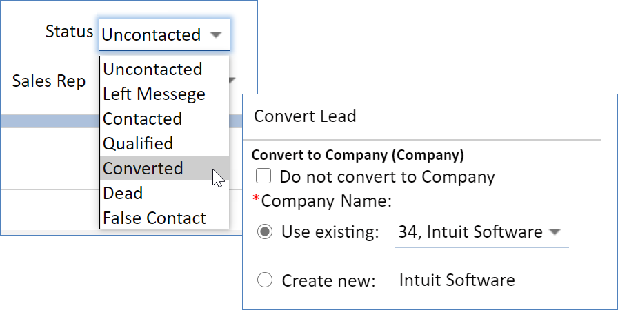 Changing a lead status to Converted opens a conversion dialog