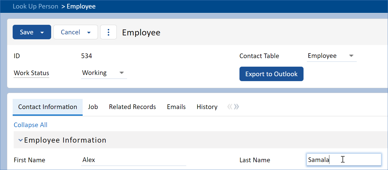 Embedded Employee record creation dialog