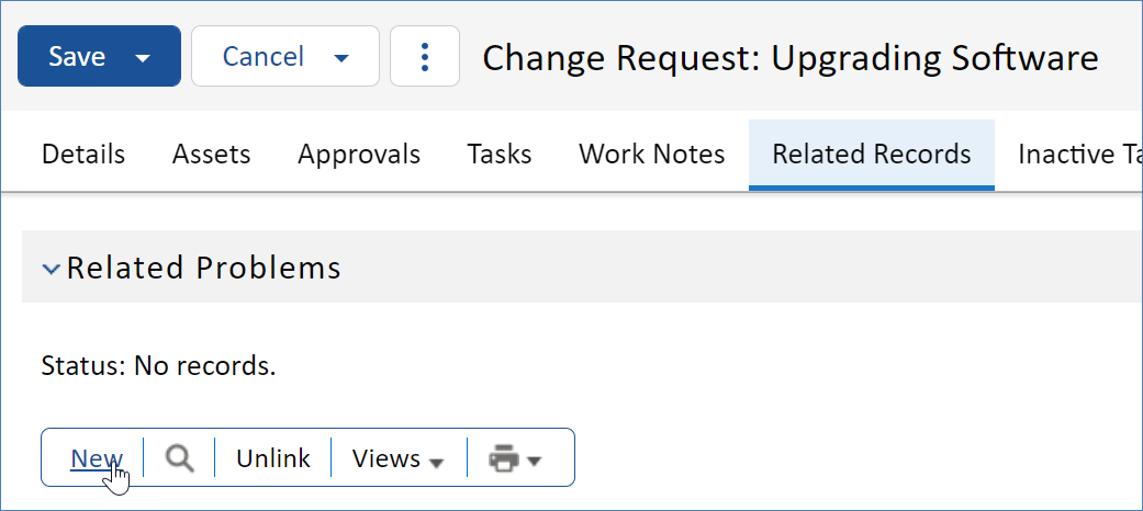 New Related Problem from Change Request record