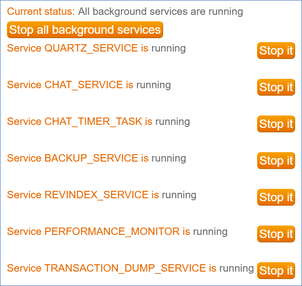 Background Services list, with each service listed on a row with a button to stop the service