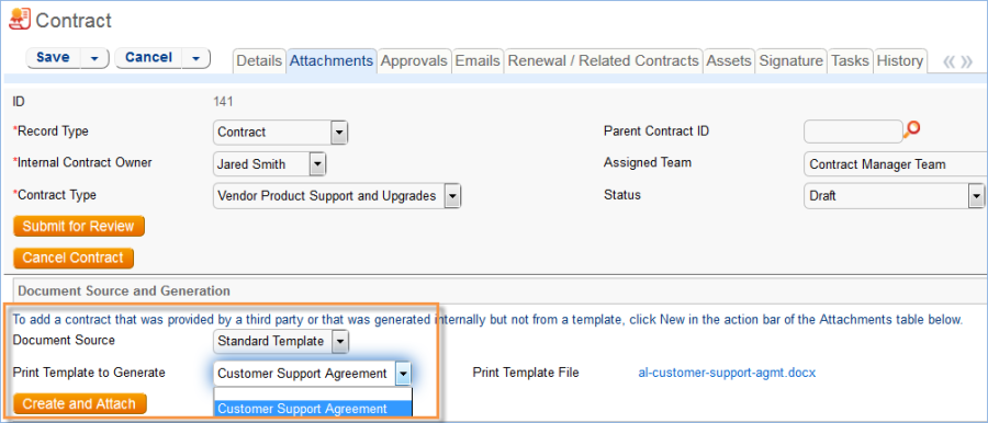 The Print Template to Generate field is filtered to the available print template related to the contract type