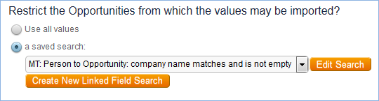 A saved search limits the available opportunities to those with a match on the user's Company Name