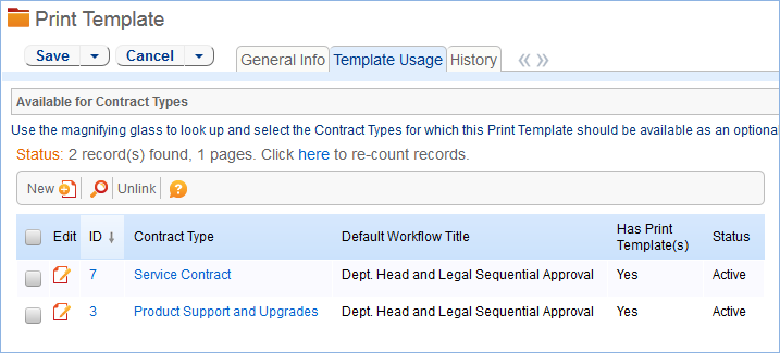 Link print templates to Contract Types on the Template Usage tab