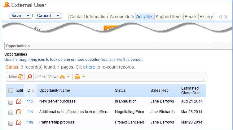 A linked field to opportunities lets sales staff add contacts