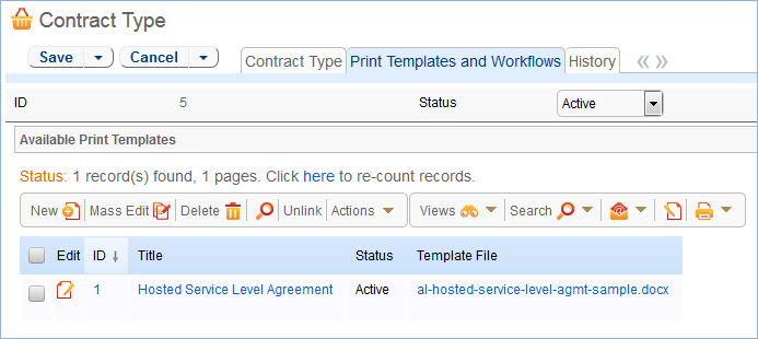 In a Contract Type record, available print templates appear on the Print Templates and Workflows tab