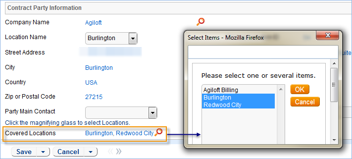 Select which locations are covered in a contract record