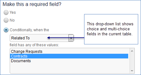 On the Options tab of the field wizard you can make a field conditionally required based on a choice field