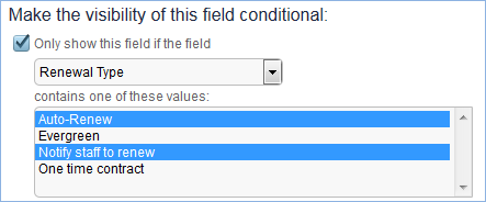 On the Options tab of the field wizard, fields can be made visibility dependent based on the selected values in a choice or multi-choice field