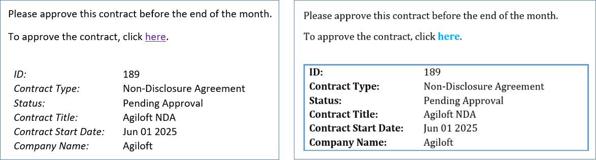 Examples of the same email with two different schemes