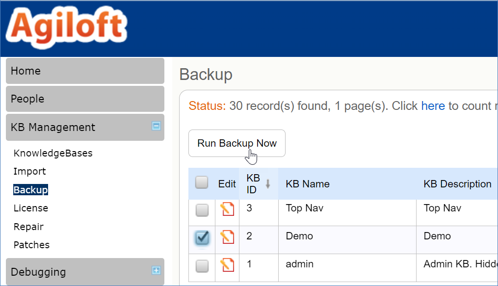 Backup page with a KB selected and the cursor over Run Backup Now button