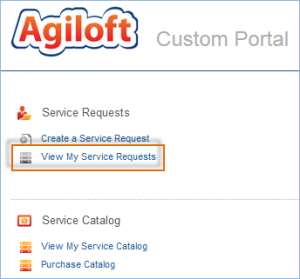 Image shows the View My Service Requests link in the end user portal, below the link to Create a Service Request.