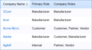 The Primary Role and Company Role fields can be used to categorize companies