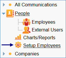 After selecting the Employees subtable, the Setup People menu item becomes Setup Employees