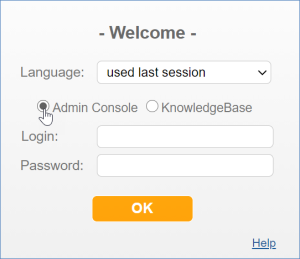 Login dialog with Admin Console selected