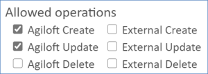 Allowed operations section with only Agiloft Create and Agiloft Update selected